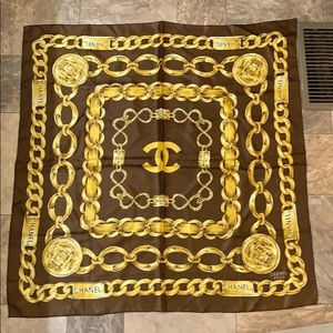 Vintage Chanel Brown Chain Medallion Print Scarf